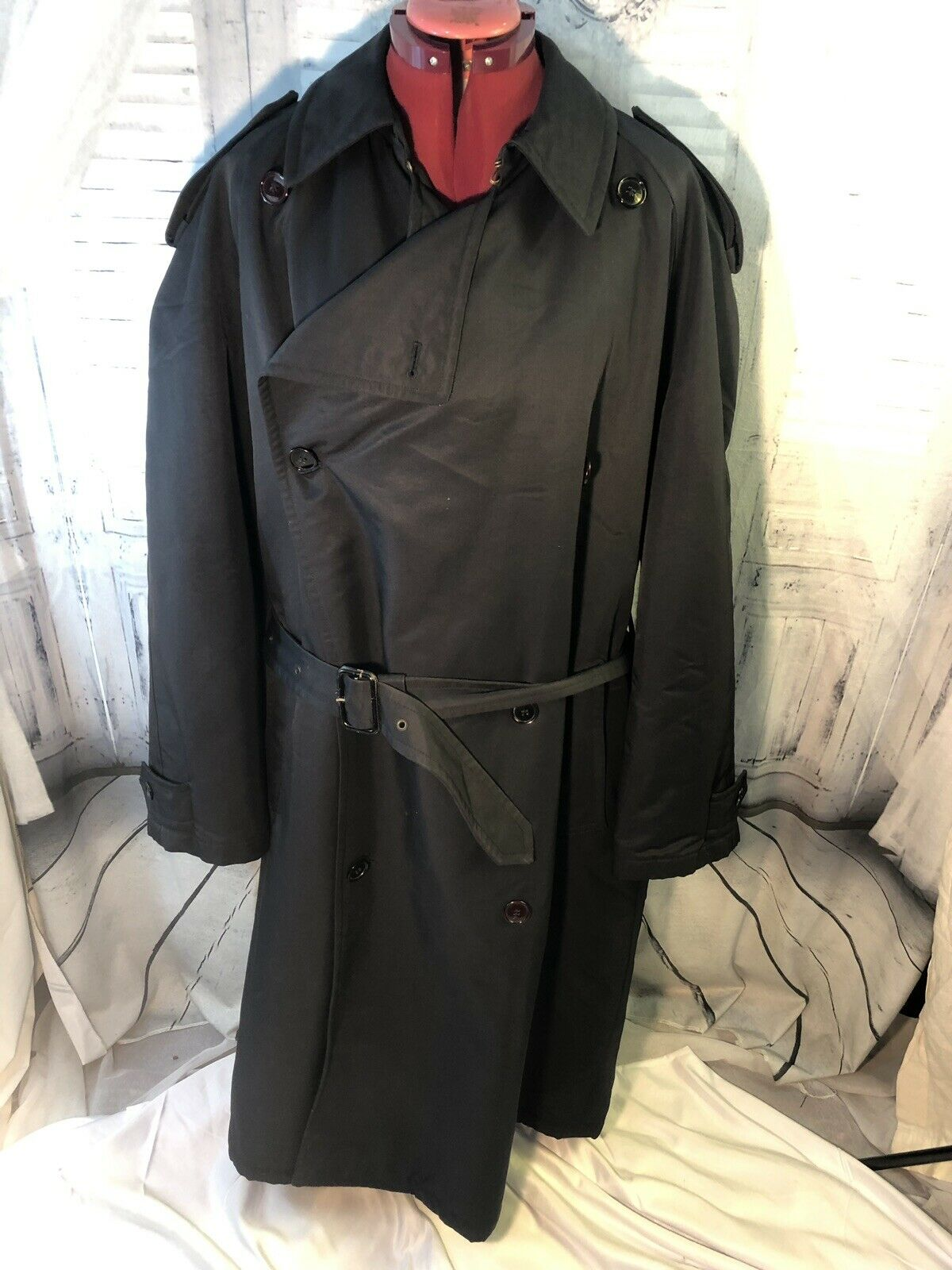 STUDIO 0001 FERRE Italian Men's Trench Coat Size 40R Blk Like New   SUPER DEAL