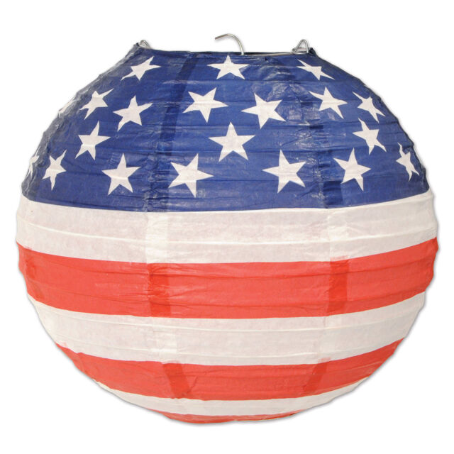 3 pc Set 4th of July PATRIOTIC Election Party Decoration HANGING PAPER LANTERNS