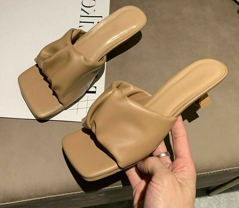 Beach Wedding Slide Shoes Solid Square Toe Thin Med Heels Slippers Sewing Rubber