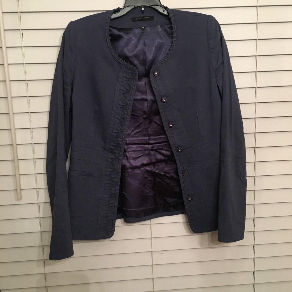 ELIE TAHARI Casual Cardigan Style Jacket Top Navy Blau damen Größe XS