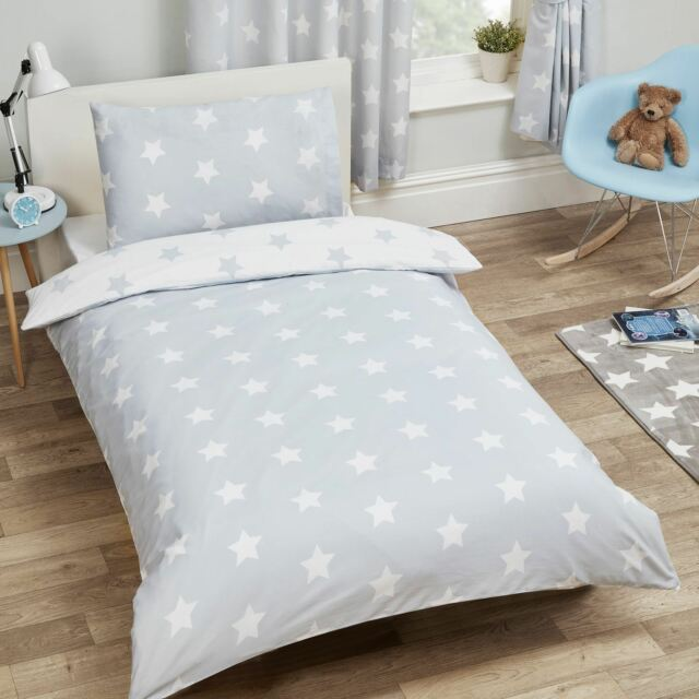 Grey White Stars Junior Cot Bed Size, Cot Bedding Grey And White Stars