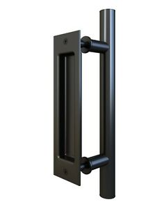 Image Is Loading Flat Black Pull And Flush Handle Set For