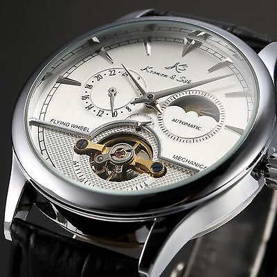 1KS White Automatic Mechanical 12/24Hrs Display Men's Leather Mechanical Watch