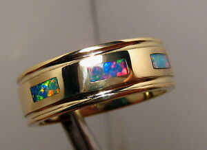 Mens Opal Wedding Band Solid 14 K Gold Brilliant Color Size 11
