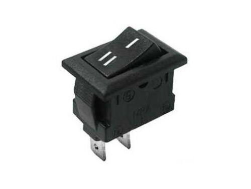 Interruttore a bilanciere 220V 10A unipolare con tasto nero switch 12V 21x15 mm