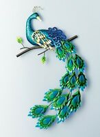 Pretty Peacock Wall Art Hanging Whimsical Metal Sculpture Indoor Gift Decor