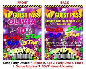 Image Is Loading BIRTHDAY PARTY INVITATION LANYARD VIP Rock Star Pop