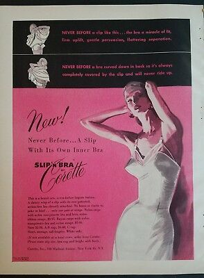 1951 Corette Women's Slip And Bra And One Vintage Color Fashion Ad Advertising