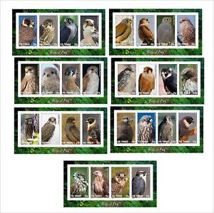 2012-FALCONS-BIRDS-OF-PREY-OISEAUX-7-SOUVENIR-SHEETS-MNH-IMPERFORATED