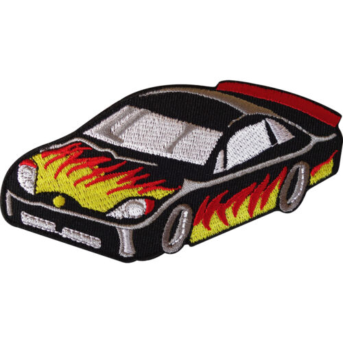 Embroidered Sew Iron On Flaming Fire Racing Car Patch Jeans Jacket Bag Badge