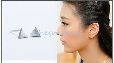 925 Sterling Silver - Simple Brushed Matte Triangle Stud Mini Lady Club Earrings