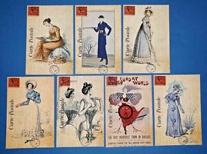 Set-of-7-NEW-Vintage-Style-Postcards-French-Paris-Fashion-Dress-Shabby-Chic-76K