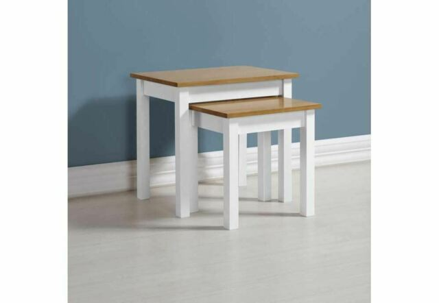Seconique Ludlow White with Oak Lacquer Nest of Tables