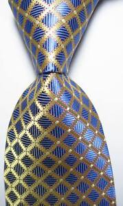 New-Classic-Checks-Gold-Blue-White-JACQUARD-WOVEN-100-Silk-Men-039-s-Tie-Necktie