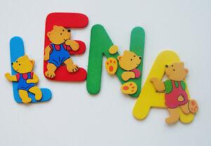 Details zu Kinderzimmer Deko Buchstaben 8 cm Höhe bunte Bärchen bemaltes  Holz Kinder Namen