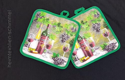 2x agarrador küchenset vino topflappenset de cocina Accesorios uvas cocina verde