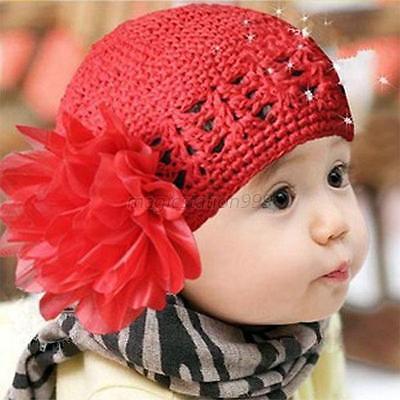Fashion Cute Baby Boy/Girl/Toddler Flower Knit Crochet Hat Handmade Cap