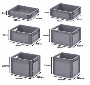 400 x 300 Euro Stacking Heavy Duty Plastic Storage Containers Boxes