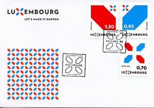Luxembourg-2016-FDC-NOUVELLE-Signature-Let-039-s-make-it-happen-3-V-Set-Cover-STAMPS