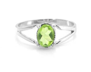 925-Sterling-Silver-Ring-Natural-Peridot-Green-Split-Shank-Gemstone-Size-4-11
