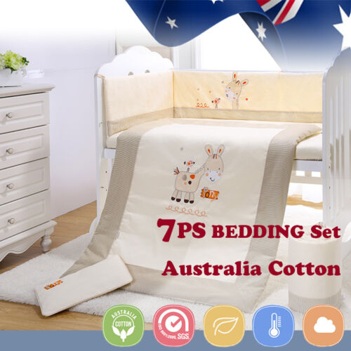 7pcs Baby Crib Bedding set Bumpers Quilt ow Cot Sheet Newborn Gift HOT SALE