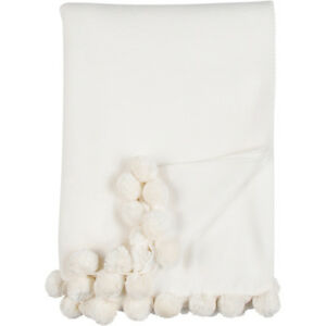Ivory Throw Blanket Pom Pom Bamboo Cotton Luxury Malibu Luxxe Gift Box Eco