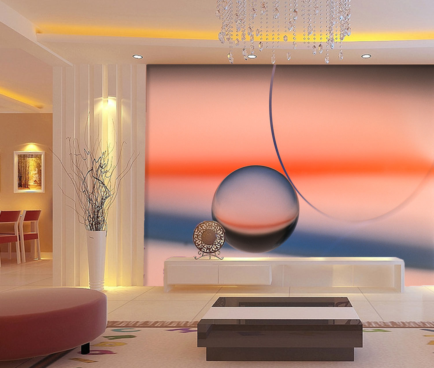 3D Sunset Water Droplets Paper Wall Print Wall Decal Wall Deco Indoor Murals
