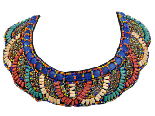 Scalloped Teal Beige Orange Multicolor Beaded Tribal Inspired Statement Necklace