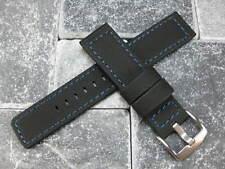 24mm HQ Rubber Diver Strap Black Watch Band Pam 1950 Maratac 24 BLUE Stitch