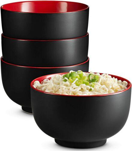 Red Ramen KooK Japanese Ceramic Noodle Bowl Deep Interior Black Pho 34 oz