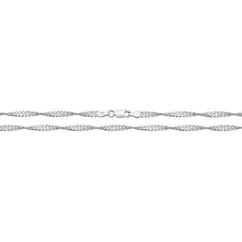 925 Sterling Silver Medium Heavy 4mm Singapore Twist Curb Chain Design Necklace