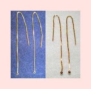 3-Pair-Threader-VERMEIL-14k-925-Silver-GOLD-EAR-THREAD-5-034-Loop-or-Ball-End
