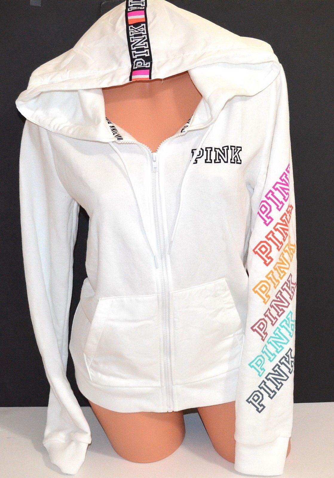 Victoria's Secret Rosa Perfect Full Zip Hoodie Sweatshirt Weiß Rainbow Logo M