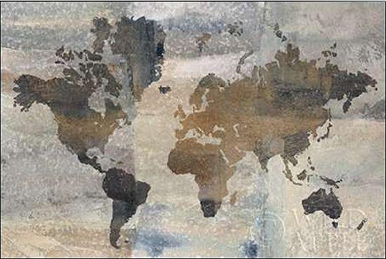 Avery Tillmon  Stone World Keilrahmen-Bild Leinwand Weltkarte braun