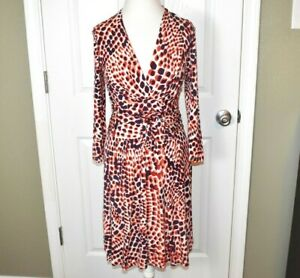 Banana-Republic-Issa-London-Dress-Size-Small-Faux-Wrap-Long-Sleeve-Red