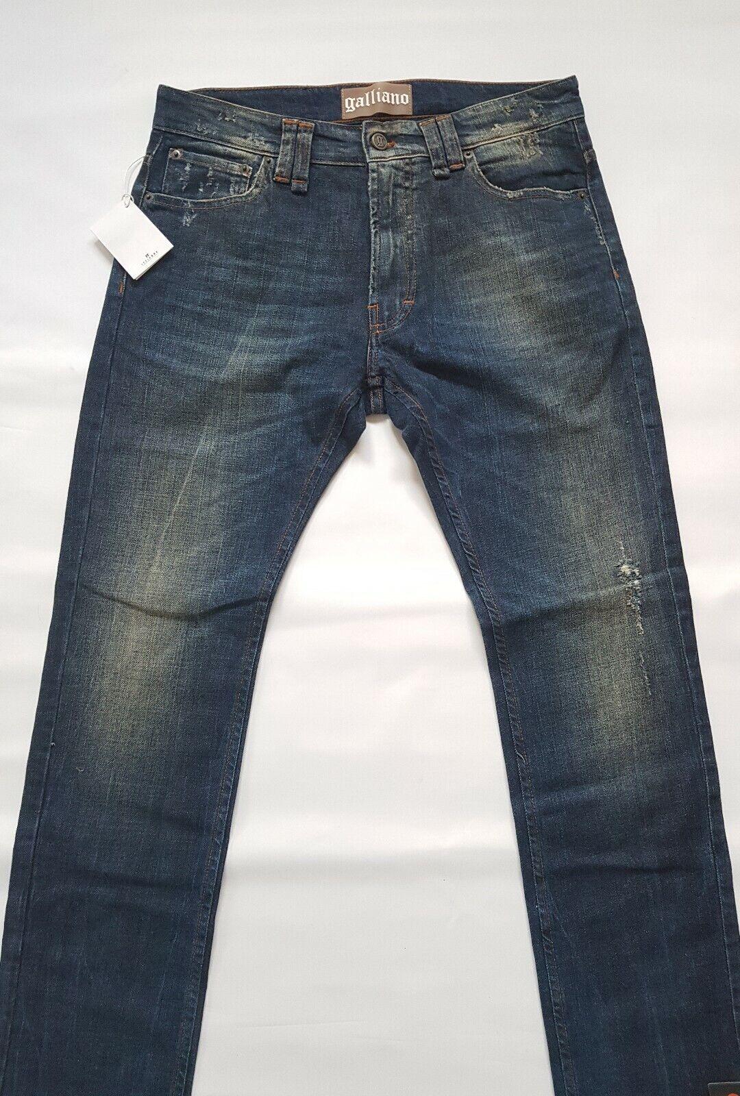Uomo John Galliano jeans colore Blu Scuro Taglia W 32 L 32-Bnwt