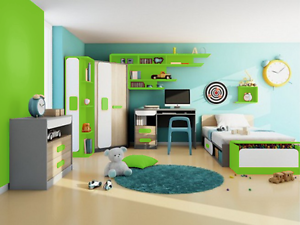 kinderzimmer jugendzimmer 7 tlg grau eiche wei gr n ebay. Black Bedroom Furniture Sets. Home Design Ideas