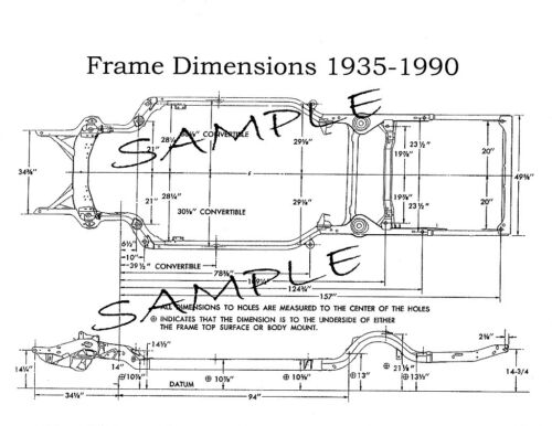 1975 Cadillac NOS Frame Dimensions Front End Wheel Alignment Specs