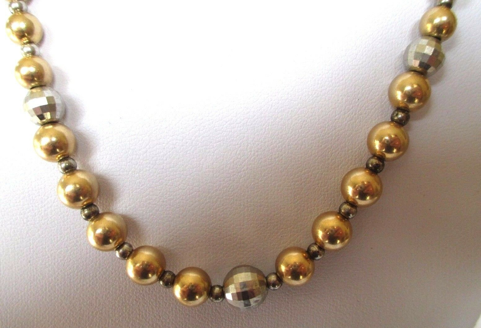 Collier bijou vintage attache silver 925 poinçon perles vermeil or et silver 191