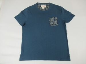 PENGUIN-BY-MUNSINGWEAR-FLORAL-FABRIC-ON-POCKET-TEE-BLUE-XL-T-SHIRT-Y342