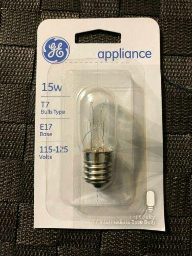 G E Lighting T7 E17 Base 15w 115-125 Volts GE 15 Watt Appliance Bulb No 35153