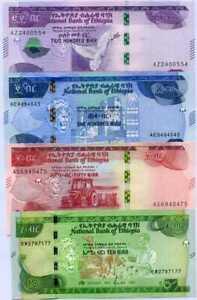 Ethiopia Set 4 UNC 10 50 100 200 Birr 2012 / 2020 P 53 54 55 56
