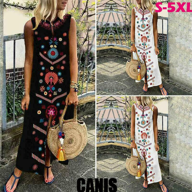 US New Womens Sleeveless Boho Party Casual Linen Kaftan Maxi Dress Long Dresses