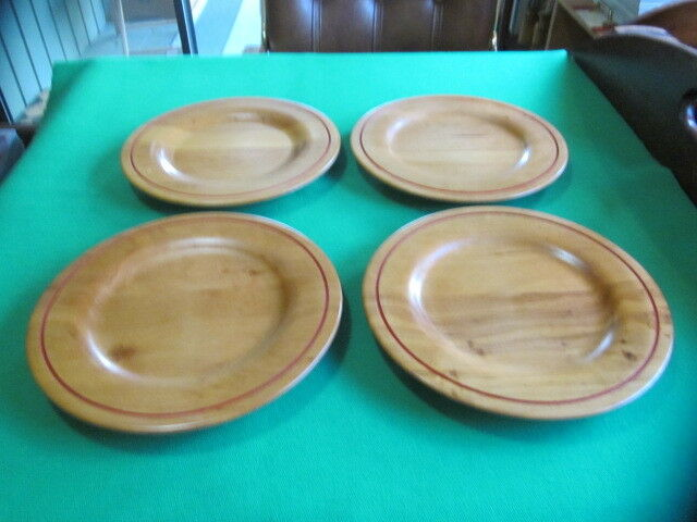 Set of 4 Ralph Lauren Wooden Salad Plates Rare and Hard to Find