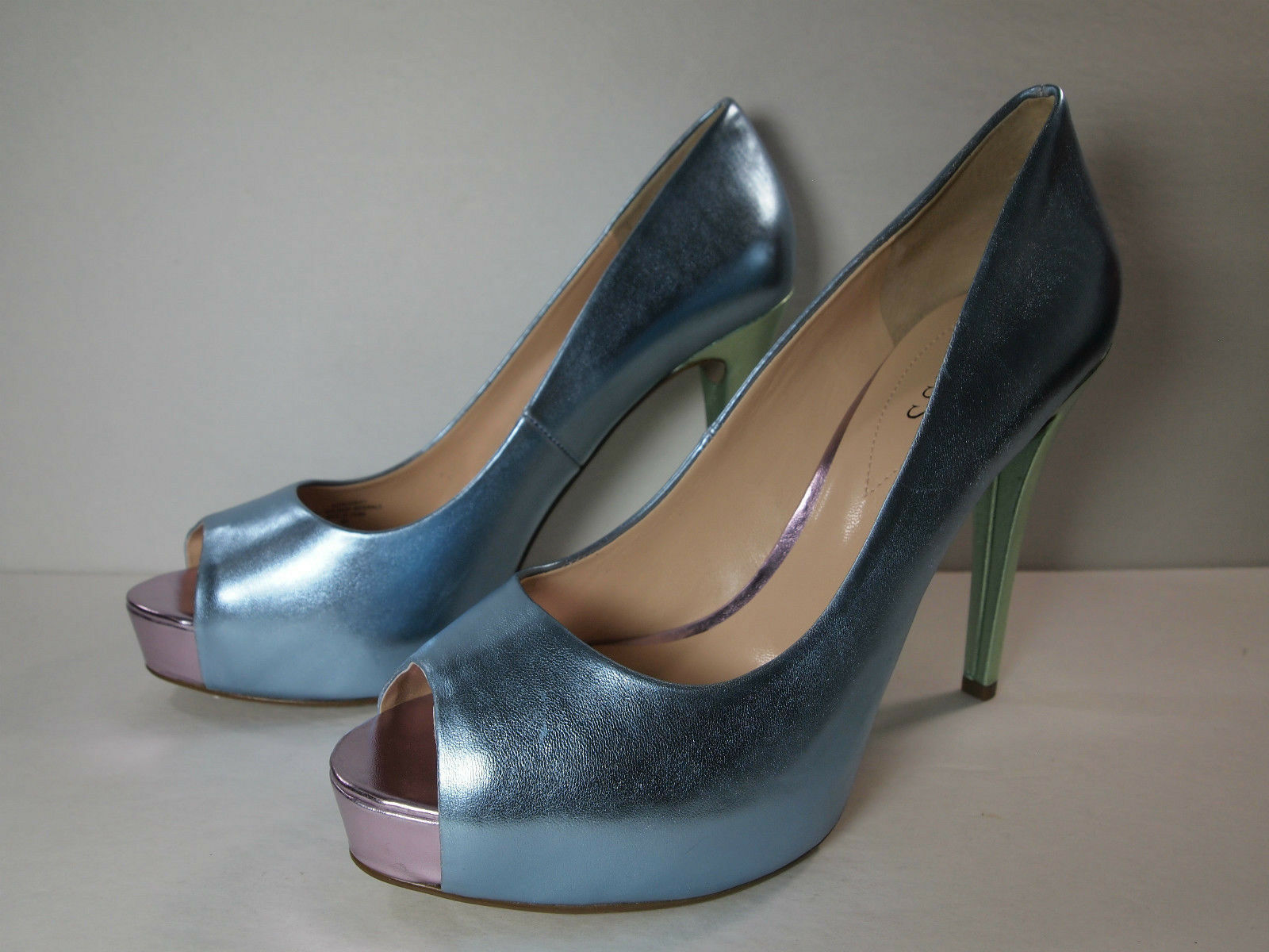 Guess Shiny Blue, Green and Pink Beautiful Peep Toe Heels - Size 9M