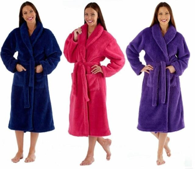 Ladies Luxury Coral Fleece Bathrobe, Dressing Gown, Robe Pink or Navy