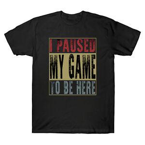 J-039-ai-suspendu-mon-jeu-pour-etre-ici-Gamer-Retro-Vintage-Tee-Shirt-Homme-Coton-T-shirt-Pour
