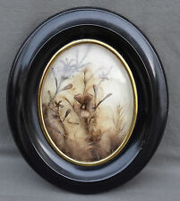 Travail de cheveux cadre bois noirci Napoléon III 19 EME DECOR DE FLEURS