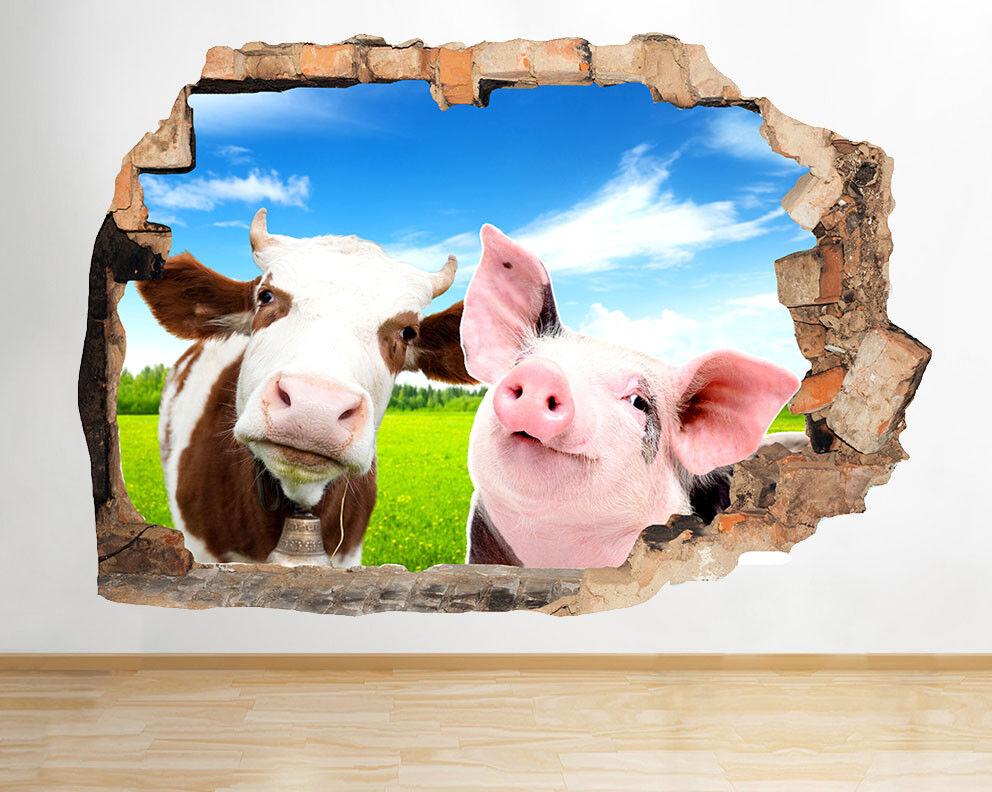 J080 Piglet Cow Farm Animals raffrougedano della adesivo da parete camera bambini
