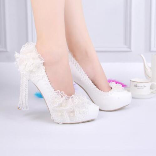 Womens White Lace Wedding High Heel Bridal Pumps Slip on Shoes Platform Pearls U